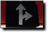 RB44 White Arrow Straight and Right Turn sign